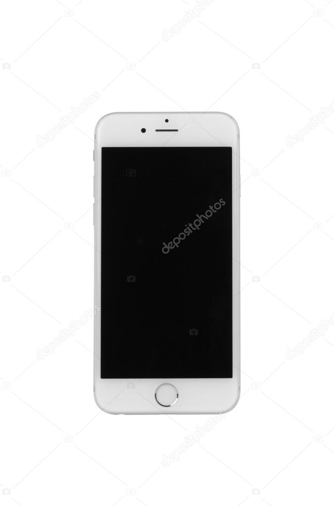 White iPhone 6 from front view on white background