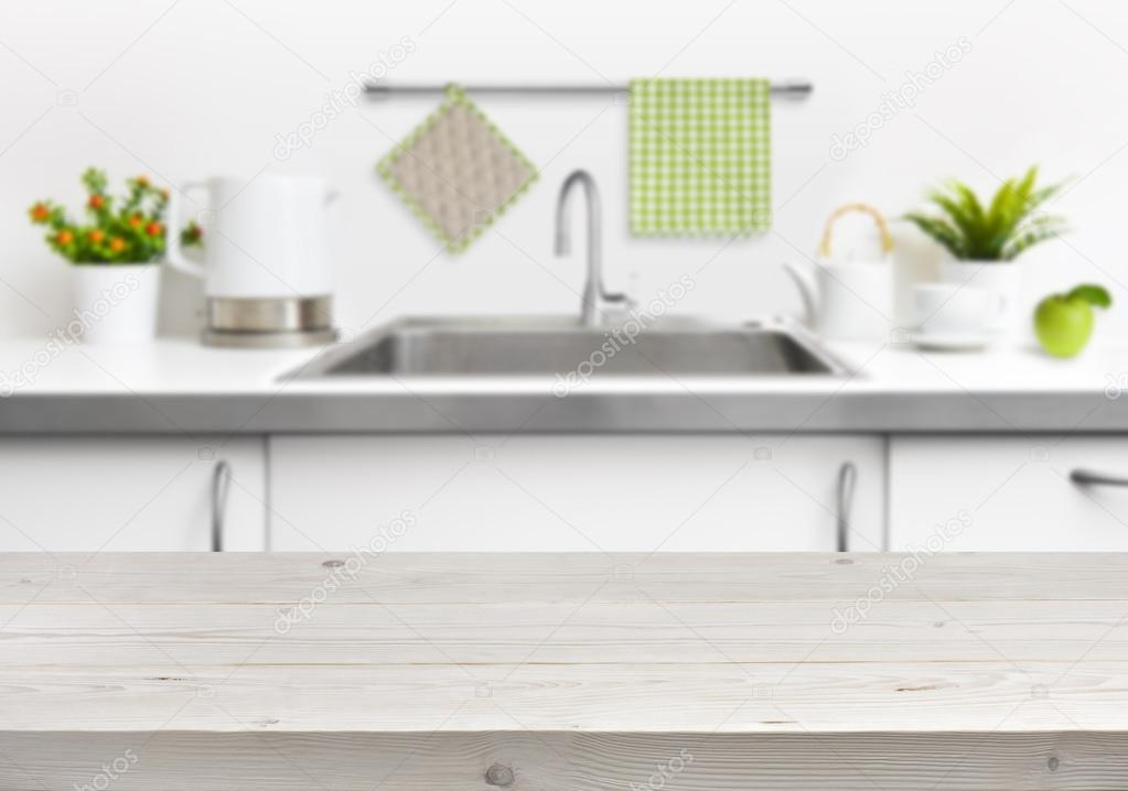 Fából készült asztal, a konyha mosogató belső háttér — Stock Fotó ...