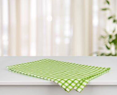 Green checkered kitchen towel