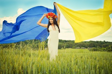 Ukrainian girl with flag
