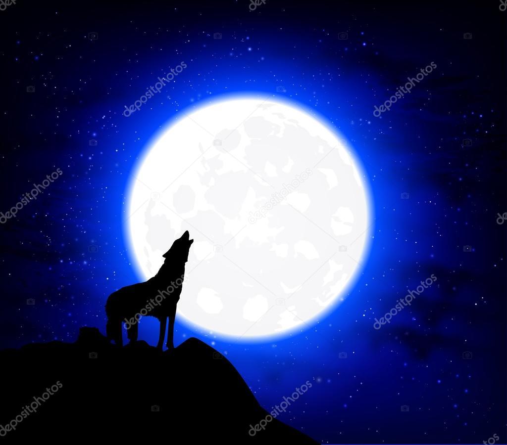 Lobo Aullando A La Luna Llena Archivo Imágenes Vectoriales