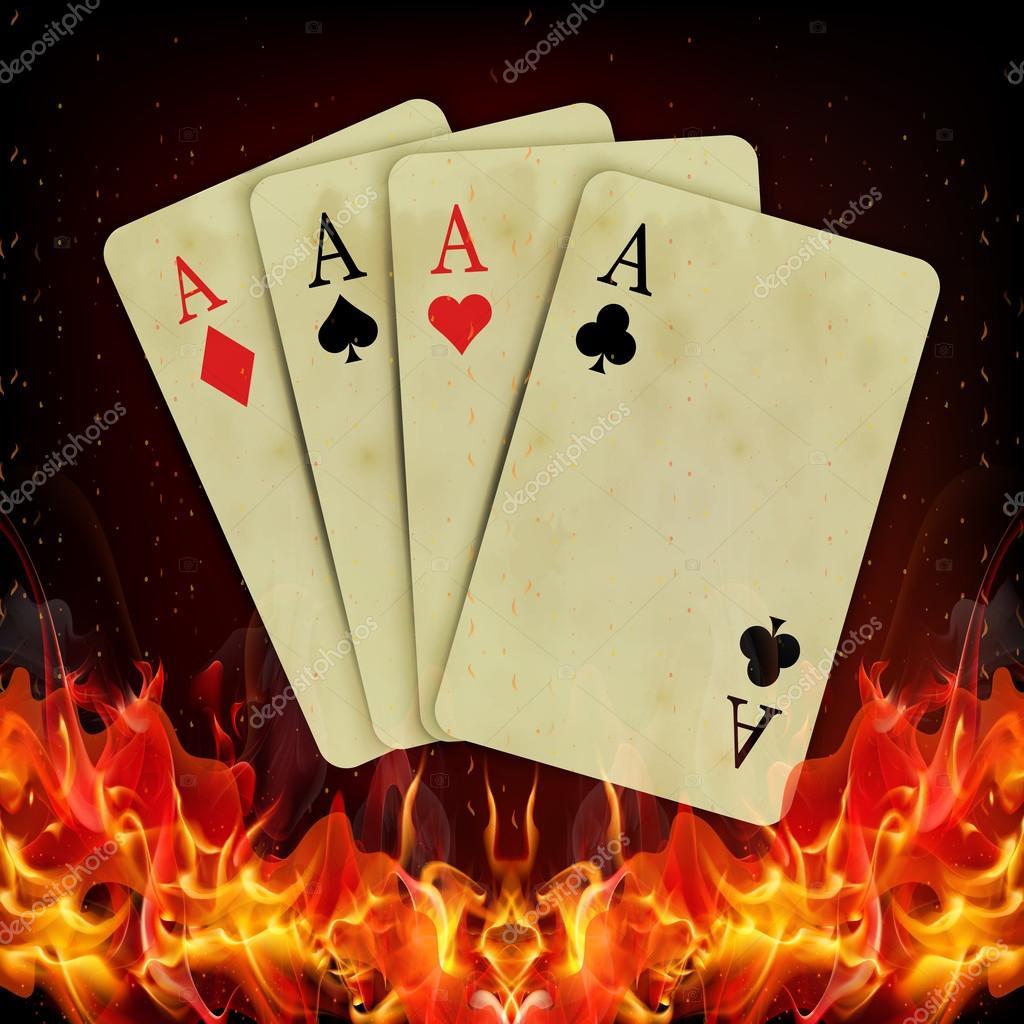Cartas de Poker fuego ardiente — Archivo Imágenes Vectoriales ...