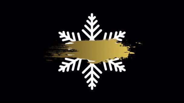 Boldog karácsonyt és boldog új évet hópehely luxus arany festék, művészeti videó illusztráció.