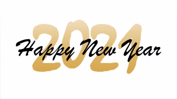 Happy new year greeting card text hand lettering, art video illustration.