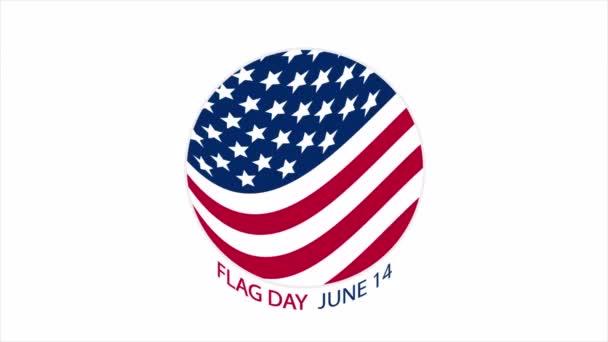 Round american flag logo, art video illustration.