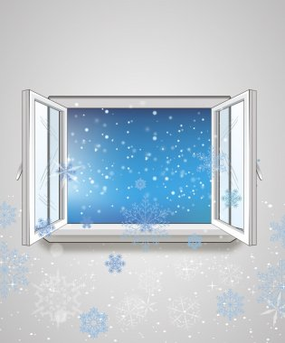 Open window and snow