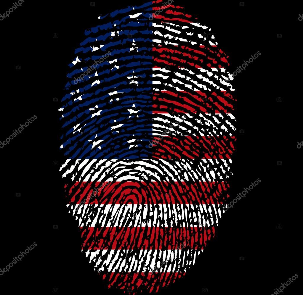 Amerikanische Flagge und Fingerabdruck — Stockvektor © Kraft2727 ...