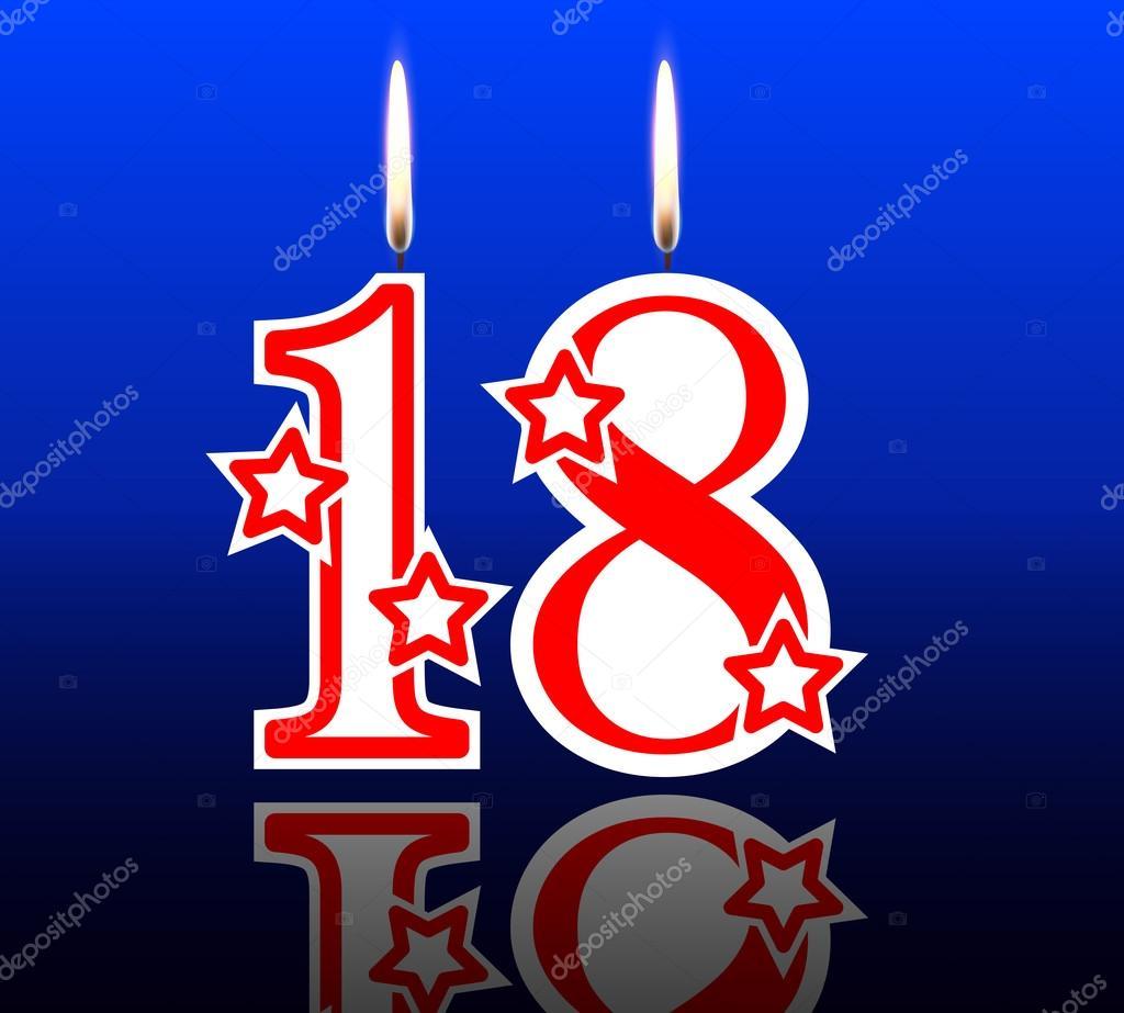 18 Birthday Candles Vector Illustration Holiday Art By Kraft2727