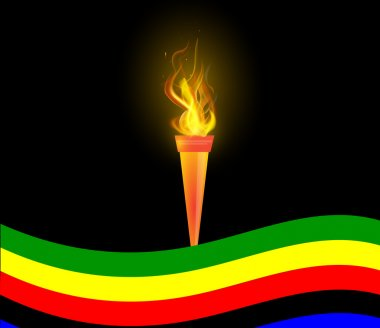 Olympic Torch and flag