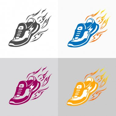 Sport and fitness logo. Running shoe icons.