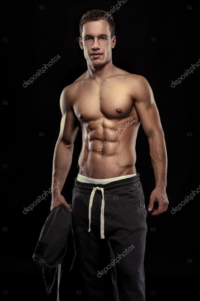 strong athletic man fitness model torso showing muscular body, Muscles
