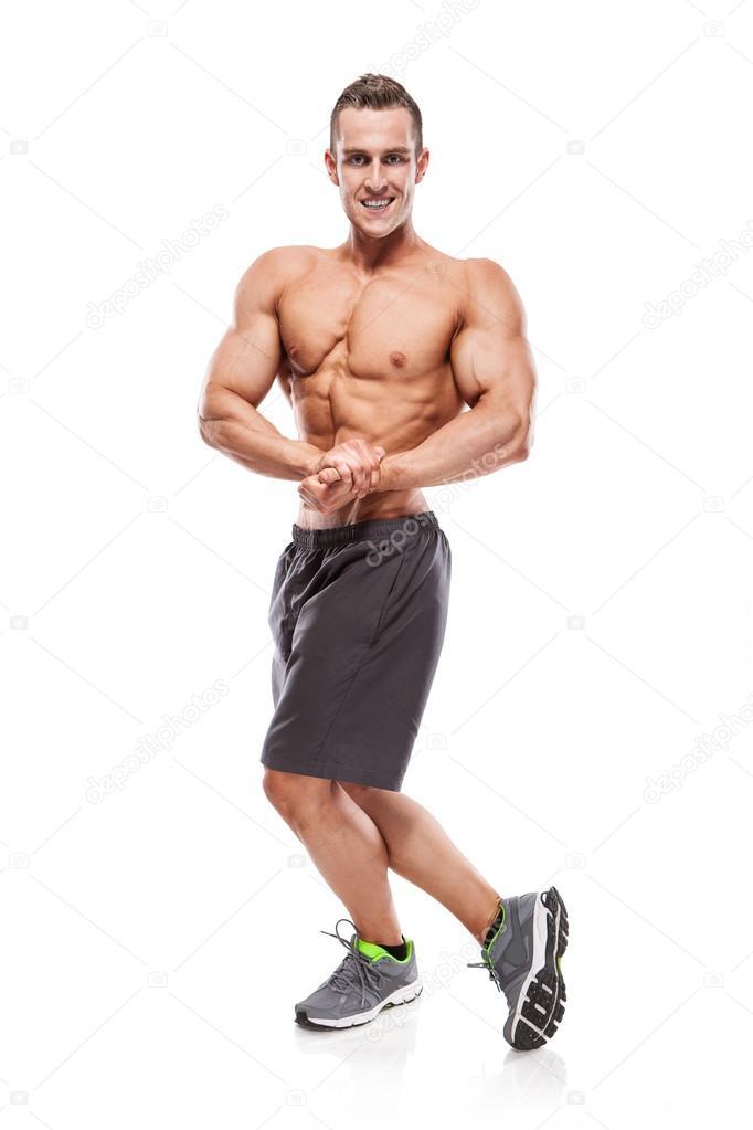 starke sportliche Fitness Modell Oberkörper zeigen Muskeln ...