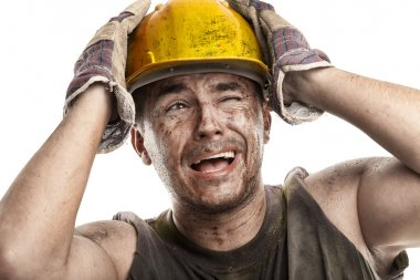 Dirty Worker Man With Hard Hat helmet