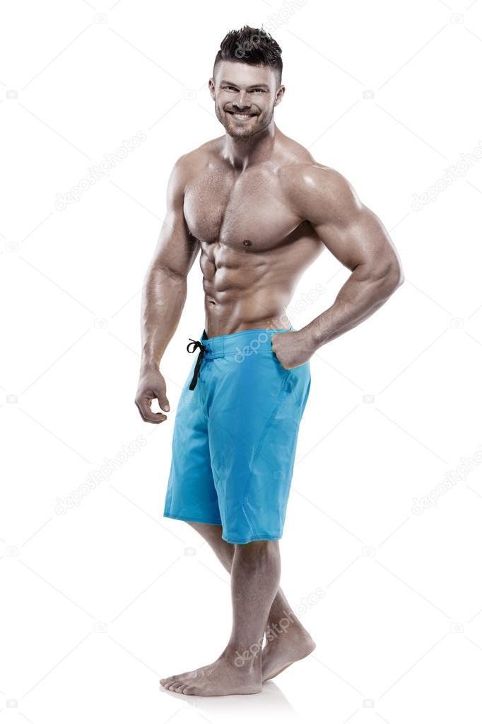 b689a4ab2170f6 強い運動男性フィットネス モデル胴体白背景に分離した大きな筋肉を示す — [著者]の写真 _italo_