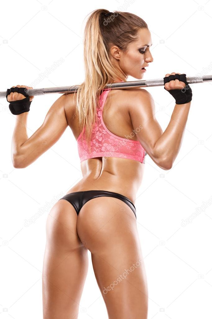Grosse Femme Sexy Photo belle femme sexy faire la séance d'entraînement avec grosse haltère