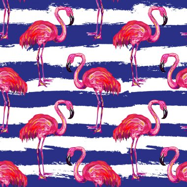 Exotic pink flamingo birds