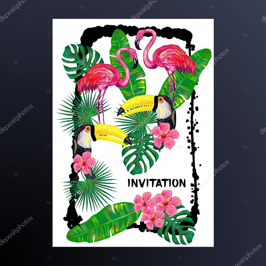 Invitation with pink flamingo, toucan bird, tropical exotic flowers and leaves