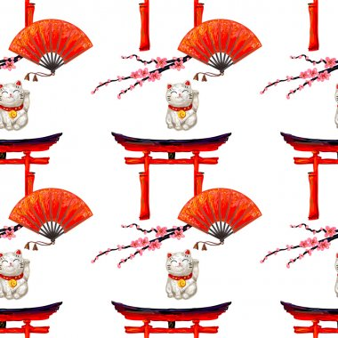Japanese pattern with Torii gate lucky cat