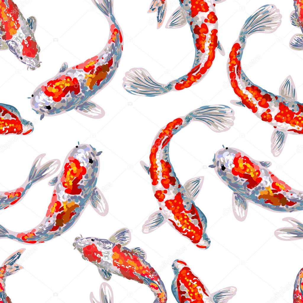 Seamless japan pattern with koi fish stock vector for Koi fish vector