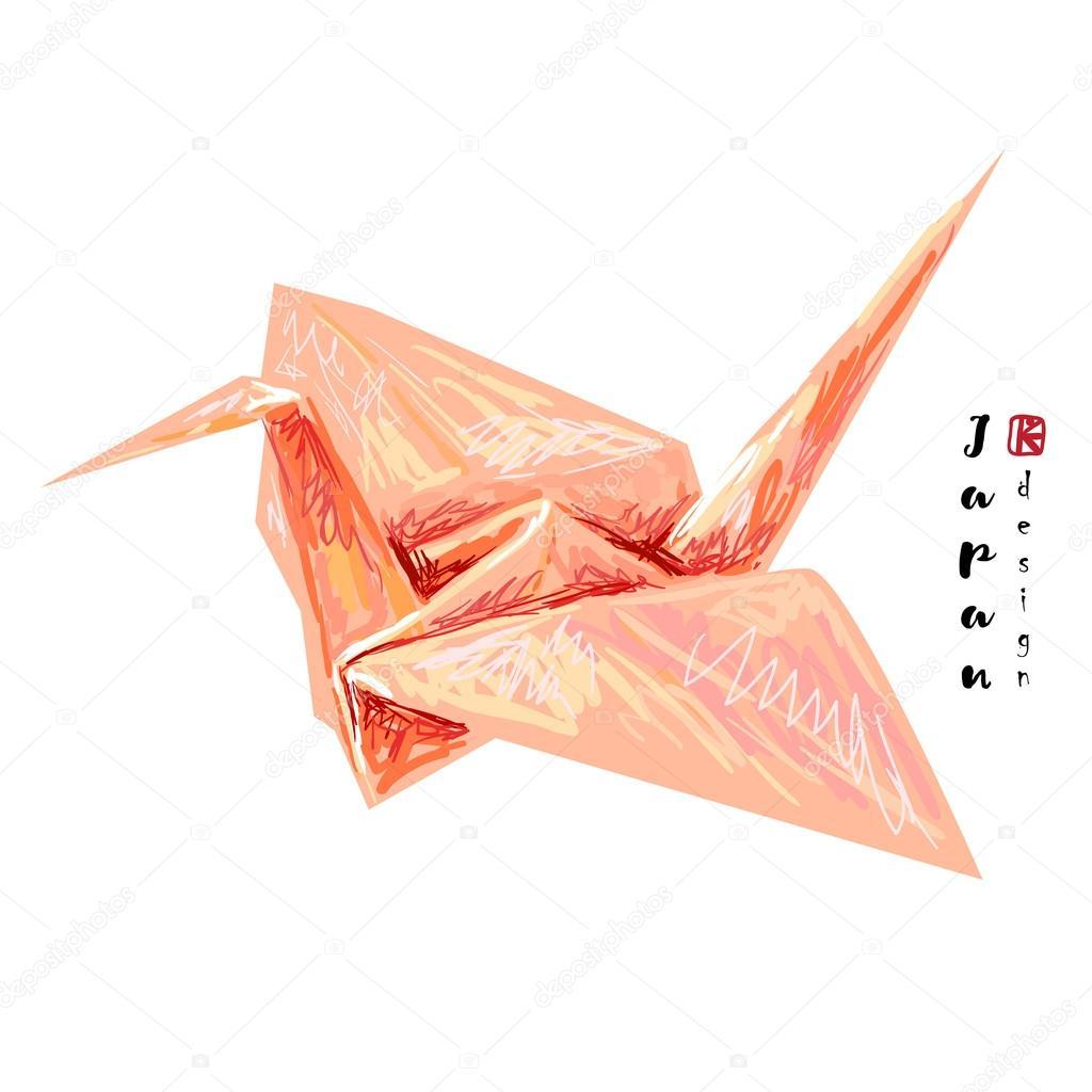 Japanese origami paper crane — 스톡 벡터 © artskvortsova ... - photo#33