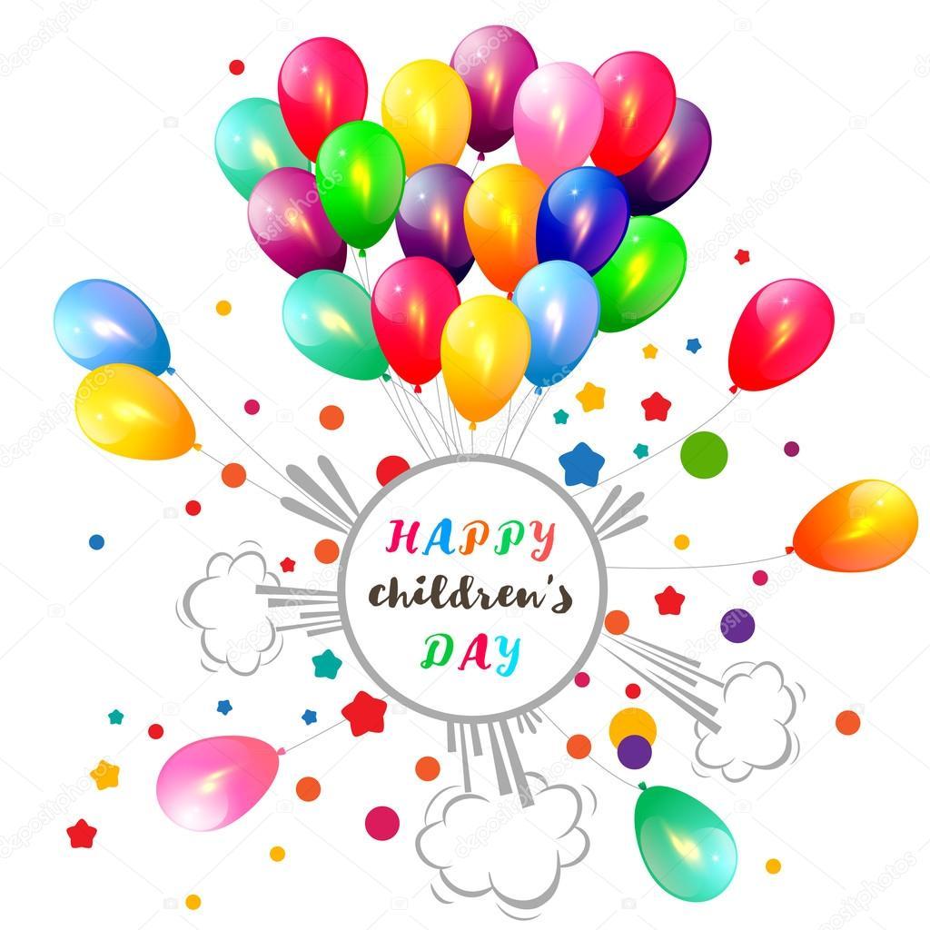 Fundo de dia das crianças com balões — Vetores de Stock ...
