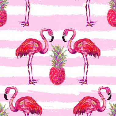 Seamless summer tropical pattern with flamingo and pineapple vector background. Perfect for wallpapers, pattern fills, web page backgrounds, surface textures, textile. Flam vector background. Flamingo