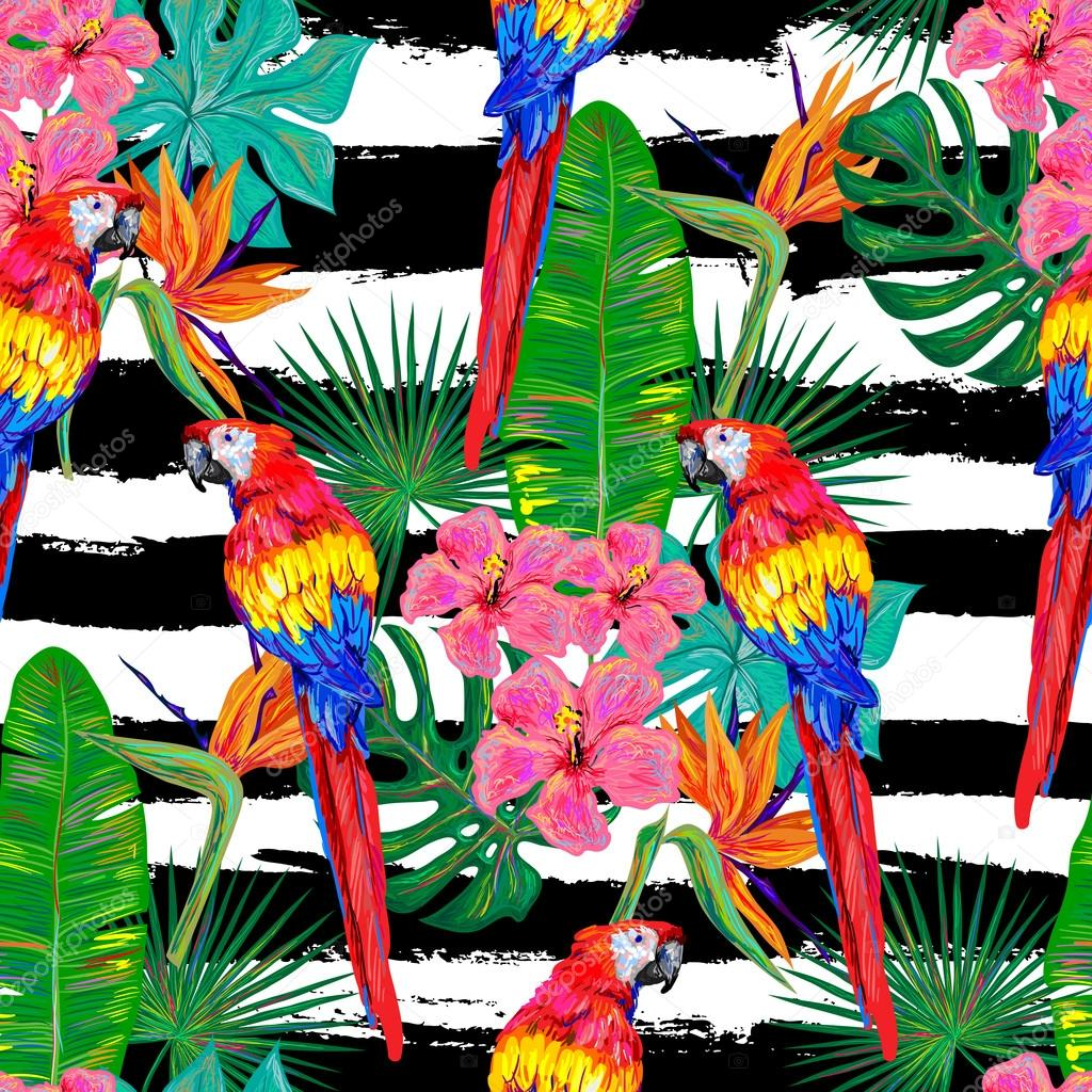 Seamless jungle tropical pattern with parrot exotic bird, palm leaves, flowers vector background perfect for wallpaper, pattern fills, web page backgrounds, surface textures, textile. Exotic pattern