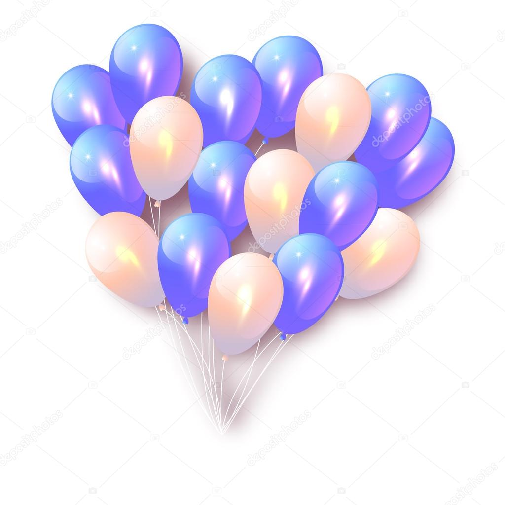 Vector Birthday Card With Balloons Blue Background Happy Birthday