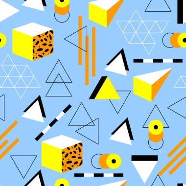 Seamless geometric pattern in retro 80s style. Doodle geometric shapes. Abstract vector background. Retro memphis design