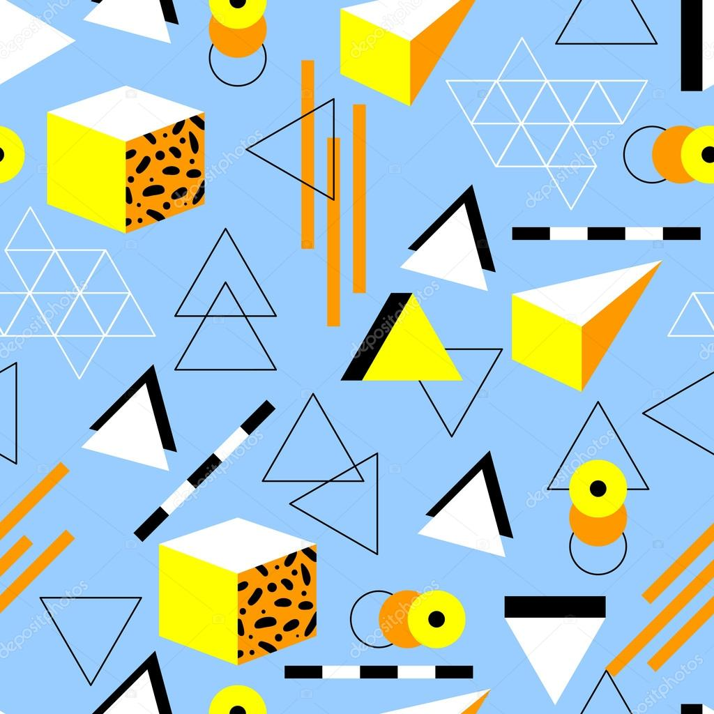 Seamless geometric pattern in retro 80s style  Doodle