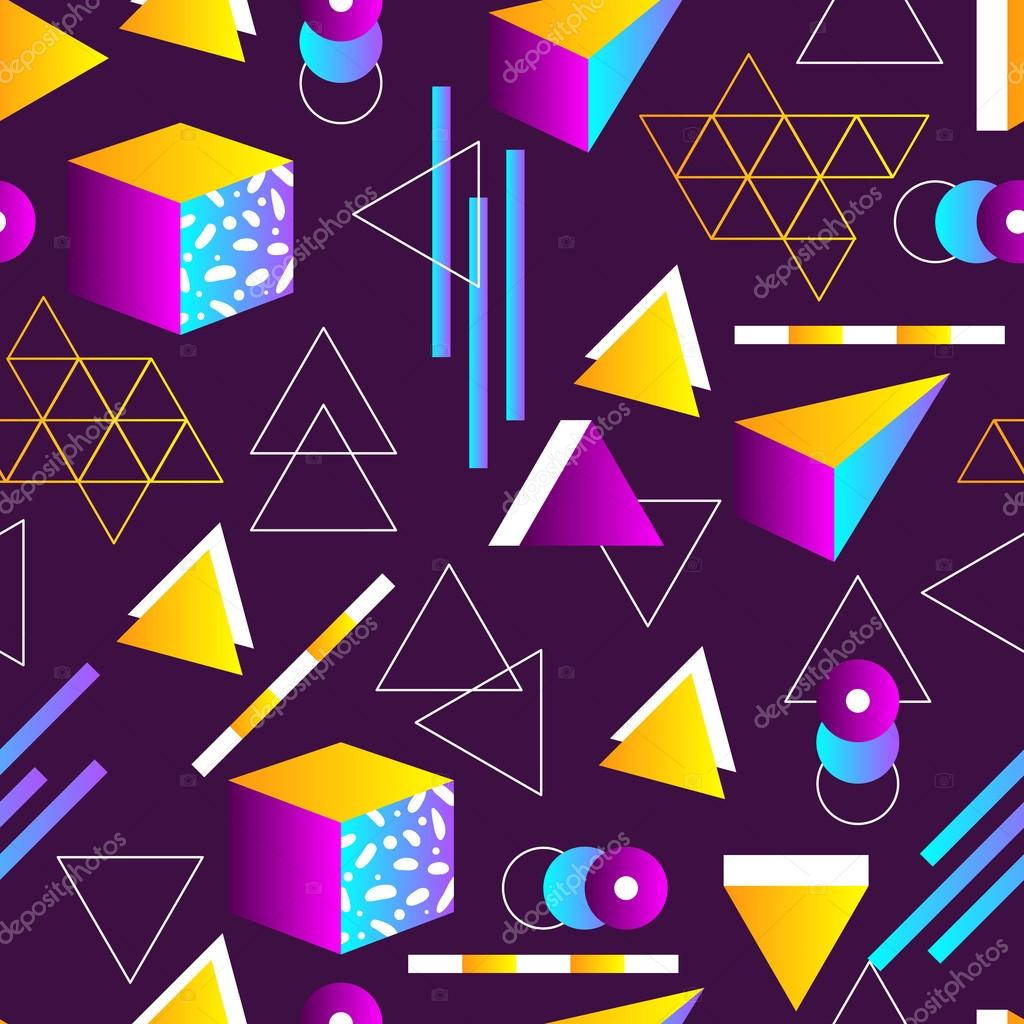 Seamless Geometric Pattern In Retro 80s Style. Doodle