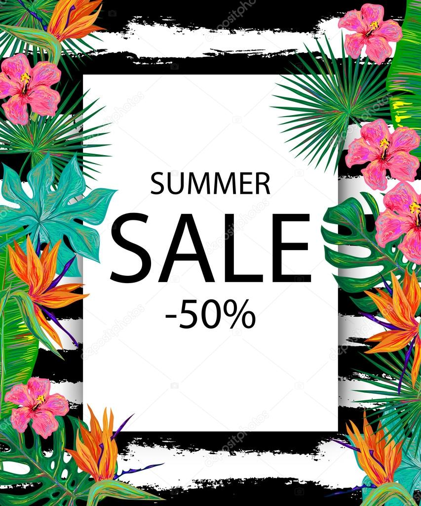 summer sale sign background with tropical flowers and palm leav