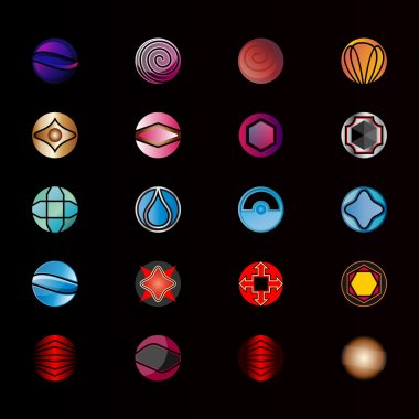 Collection of abstract graphic design elements. Set of logos