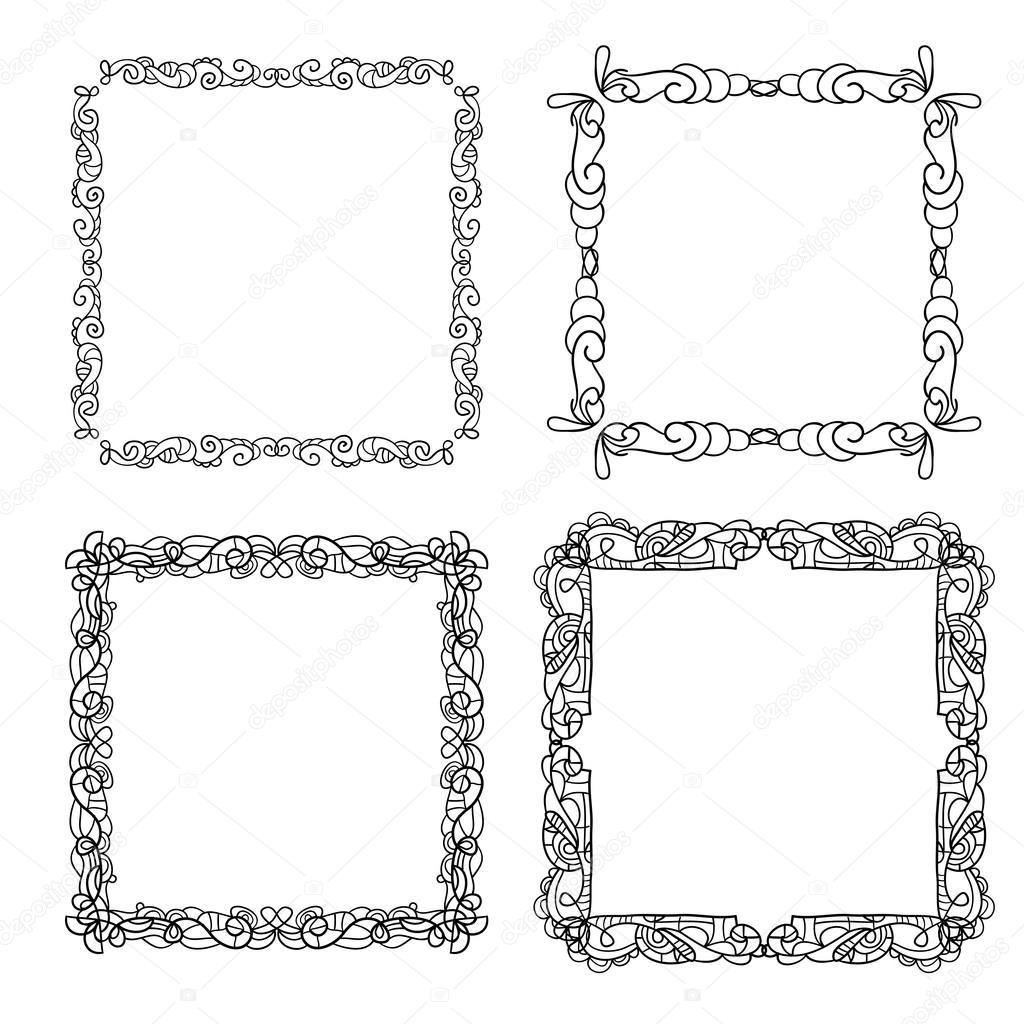 Satz von Hand gezeichneten doodle Rahmen — Stockvektor ...