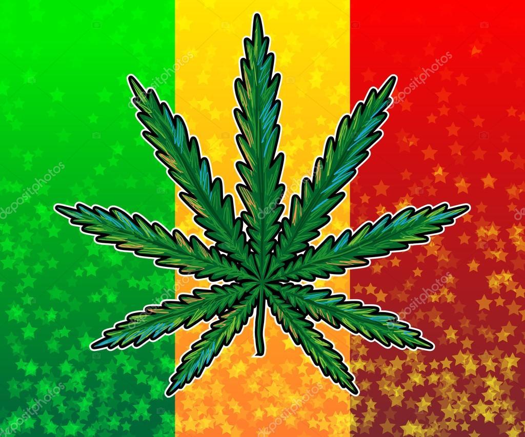 Flaga kolorowy liść ganja na rasta– ilustracja stockowa
