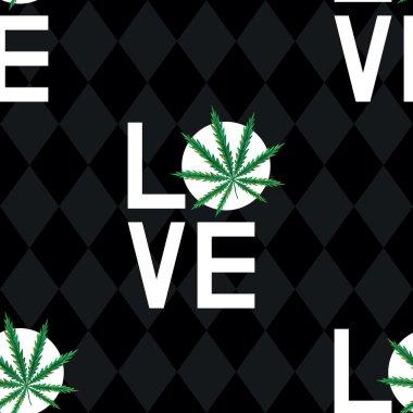 Seamless pattern with love marijuana
