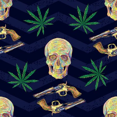 Seamless pattern with marijuana leaves