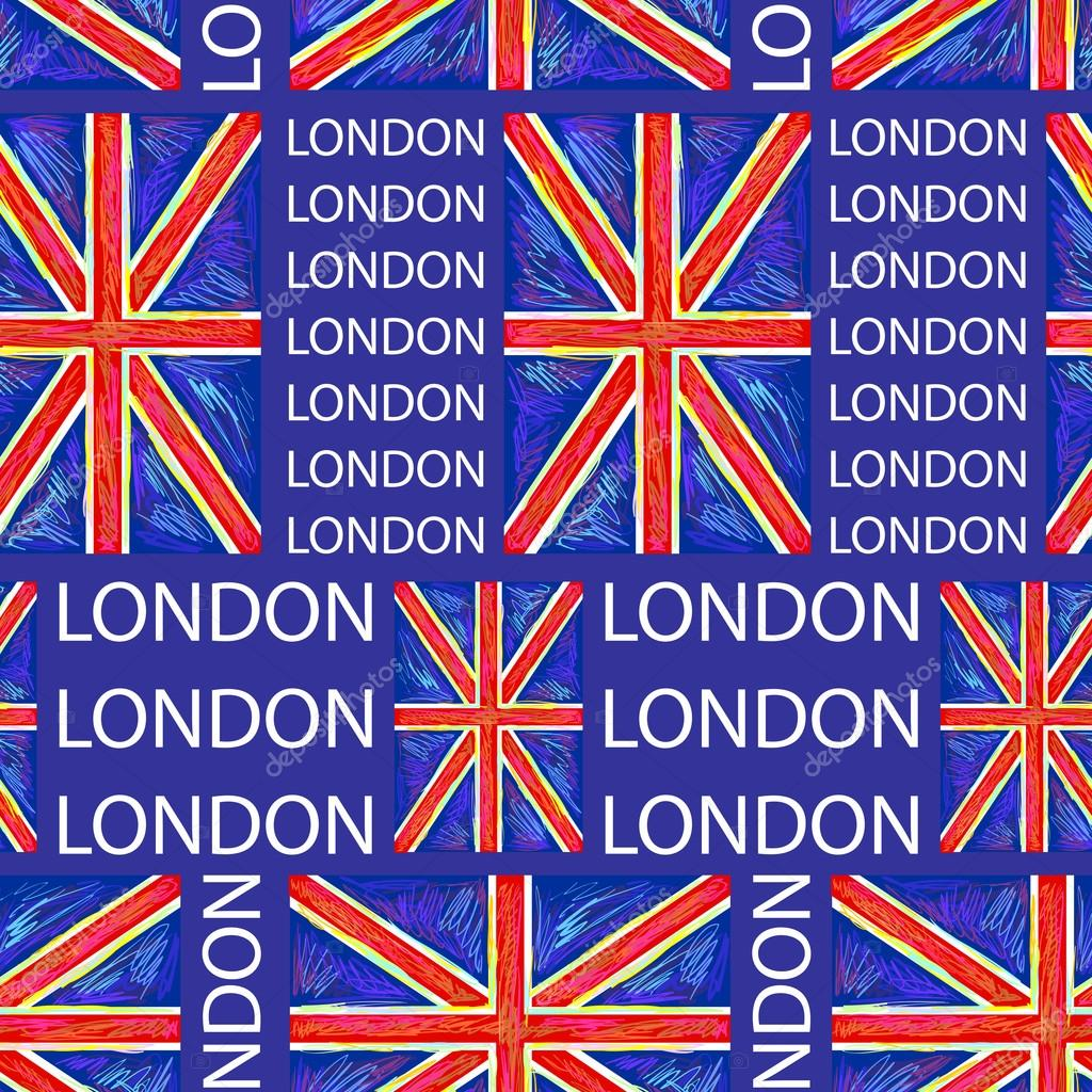 Seamless London Pattern With Union Jack Flag Vector Background Perfect For Wallpapers Fills Web Page Backgrounds Surface Textures
