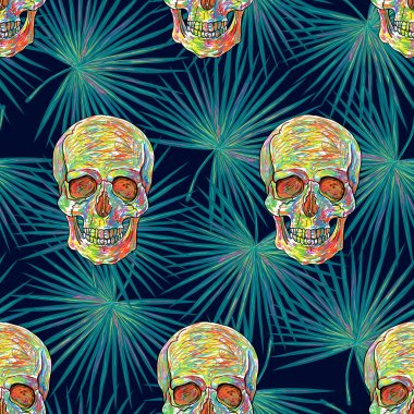 pattern with  palm leaves and skulls