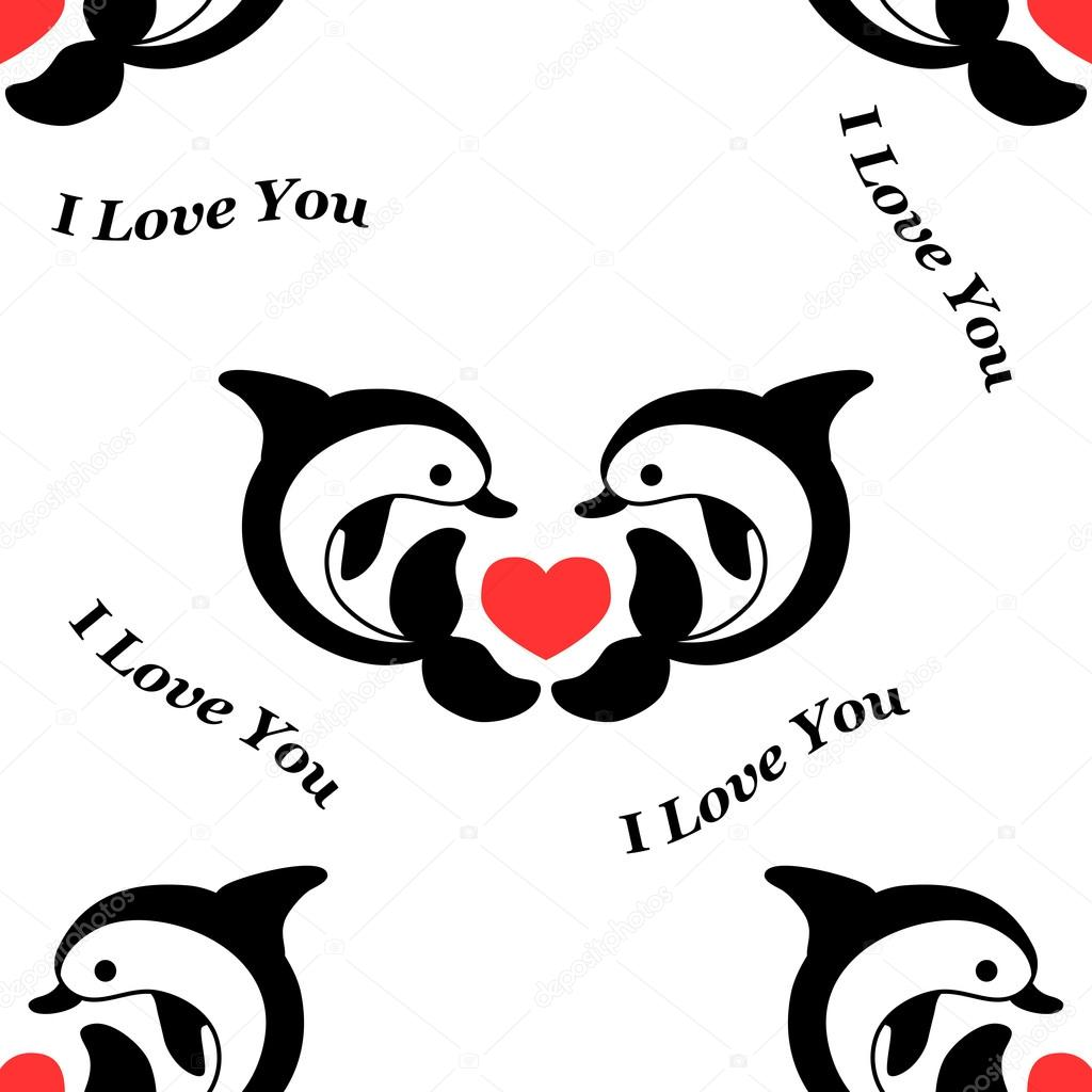 Patrón con delfines y corazones rojos — Archivo Imágenes Vectoriales ...