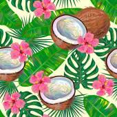 Bezešvé vzor s kokosy a květiny
