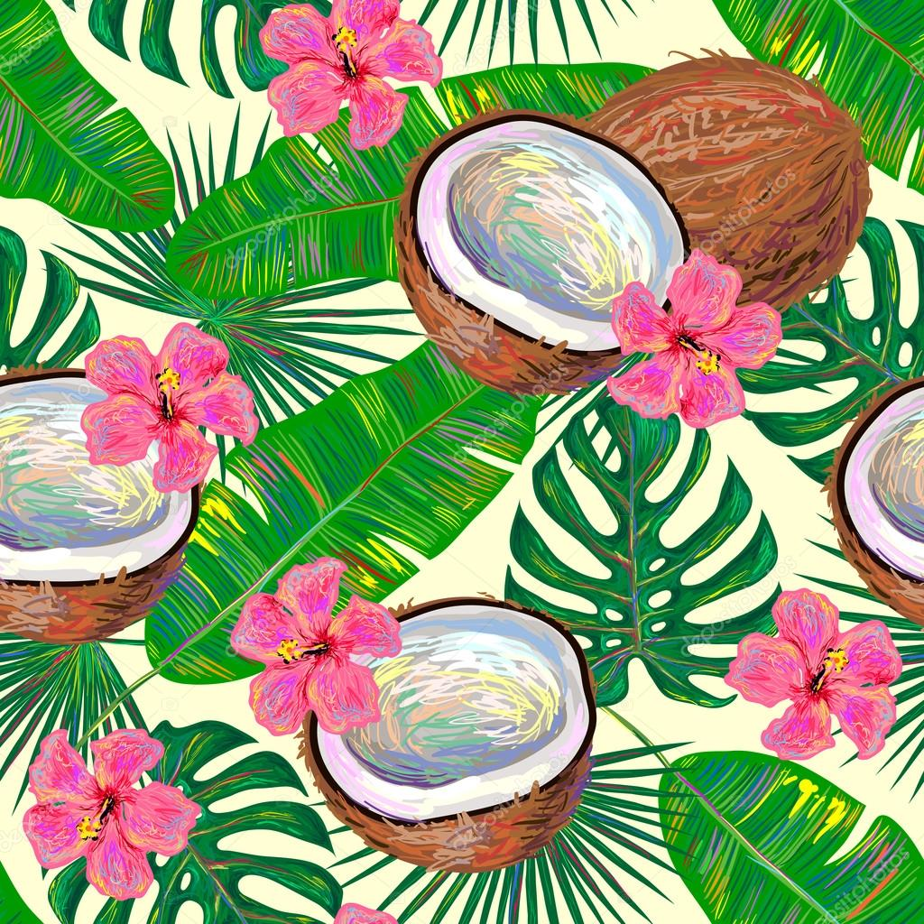 Seamless pattern with coconuts and flowers