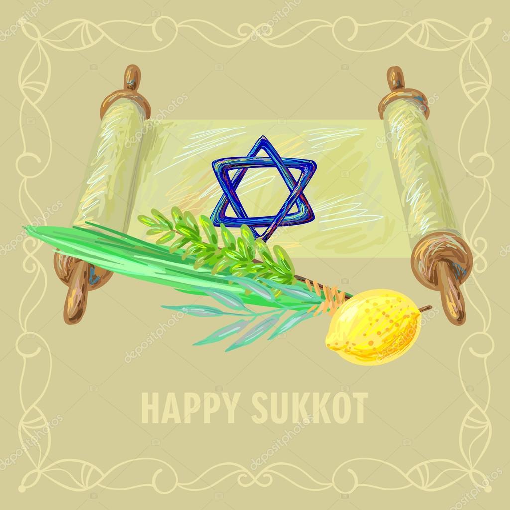 Symbols and attributes of jewish festival sukkot stock vector symbols and attributes of jewish festival sukkot stock vector biocorpaavc