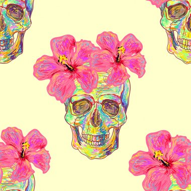 Seamless pattern with skulls and hibiscus flowers