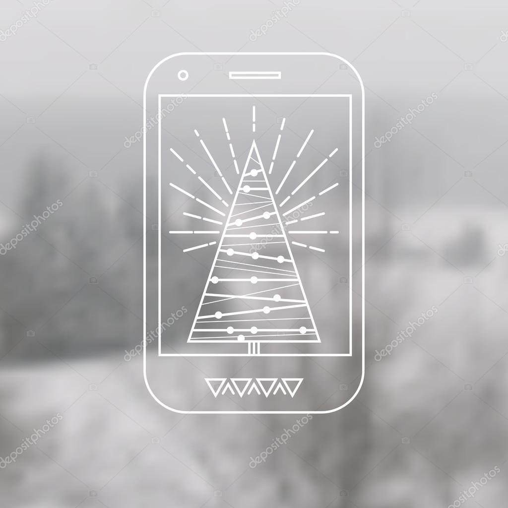Mobile Phone With Christmas Tree Stock Vector Artskvortsova