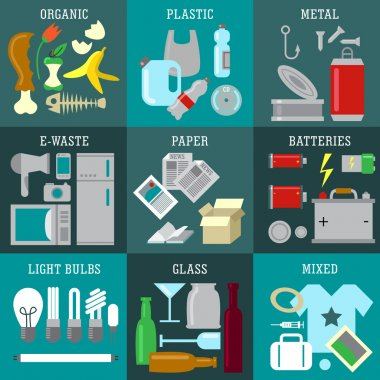 Waste types segregation recycling