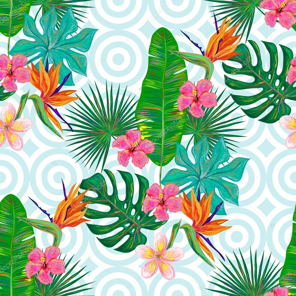 summer tropical pattern with exotic flowers  u2014 stock vector  u00a9 artskvortsova  94426024