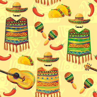 Mexican seamless music pattern
