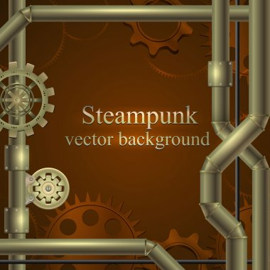 Retro background with gears and tubes in shades of brown