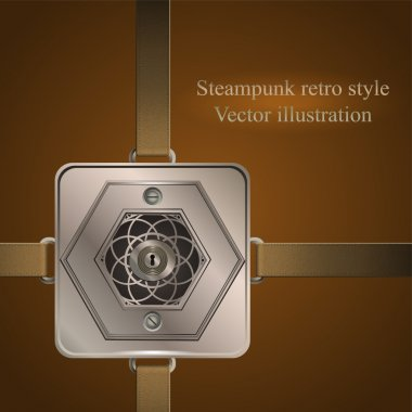 Background belts with metallic banner. Vector illustration. steampunk